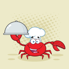 Crab Chef Cartoon Mascot Character Holding A Platter. Vector Illustration With Background