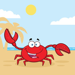 Happy Crab Cartoon Mascot Character Waving For Greeting. Illustration With Palm And Beach Background