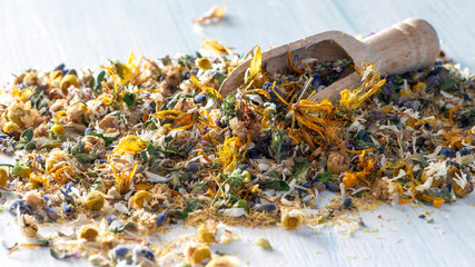 Close up: mix from dried herbs and blooms, homeopathy