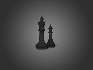 King and queen black chess figures illustration background. Competition, planning, strategy, battle