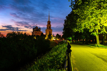 Night view of Bell tower and Cathedral of Ryazan Kremlin at sunset, Russia