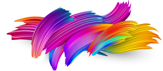 Colorful abstract brush strokes on white background.