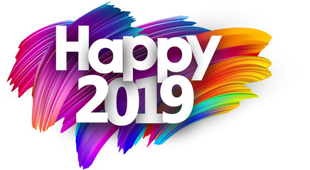 Happy 2019 new year festive background with colorful brush strokes.