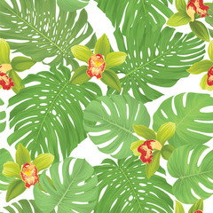 Seamless pattern of green orchid flower and tropical leaves on white background. Vector set of exotic tropical garden for holiday invitations, greeting card and fashion design.