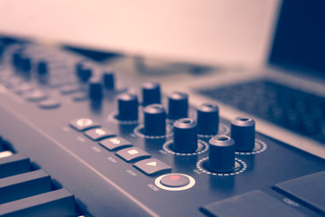 Play buttons on dj controller, vintage filter soft focus