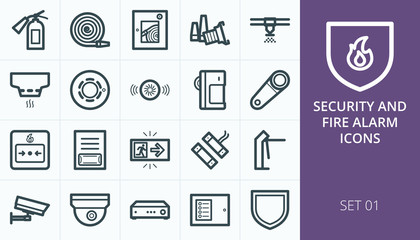 Fire alarm and security system icons set - sensor, detector, sprinkler