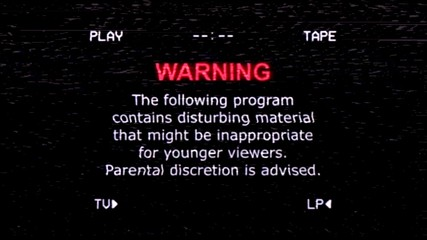An old noisy VHS tape screen showing a warning message: the following program contains disturbing material, might be inappropriate for younger viewers; parental discretion is advised.