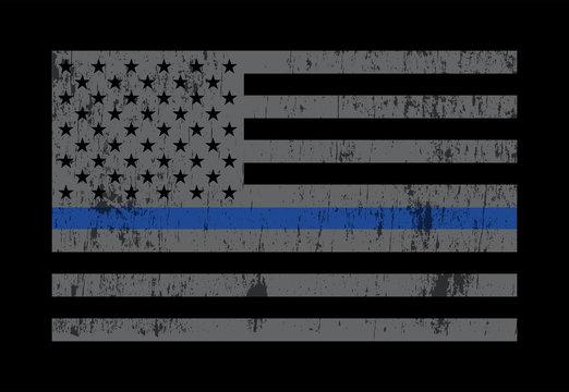 Police Support Flag Grey Illustration