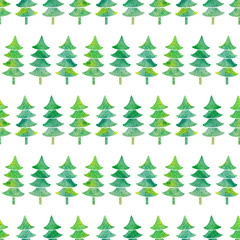 Watercolor seamless pattern with textured Xmas trees. Simple christmas background. Hand-drawn illustration with green silhouette of spruce