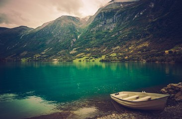 Wall Mural - Norwegian Fjord with Boat