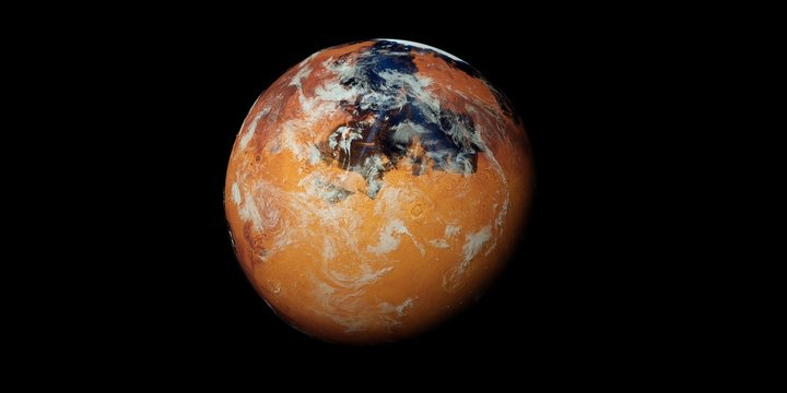 Extremely detailed and realistic high resolution 3D illustration of a terraformed Mars like Planet