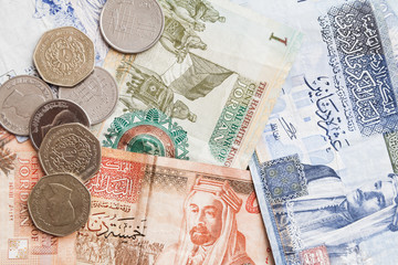 Jordanian dinars banknotes and piastres