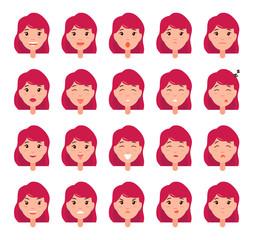 Woman Emotions Vector Emoji of Girl Good Bad Mood