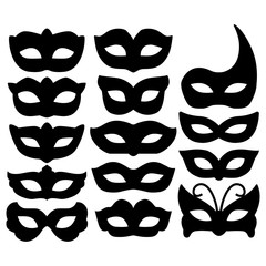 Set of carnival mask silhouettes isolated on white. Collection festive mask icons symbols. Decorations for masquerade, parties and various celebrations. Vector illustration.