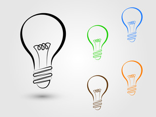 A set of light bulbs on white background for innovative idea and brainstorming vector illustration