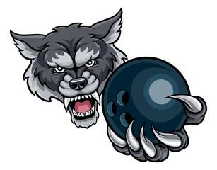 Wolf Holding Bowling Ball Mascot