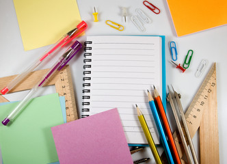 stationery on the table close up