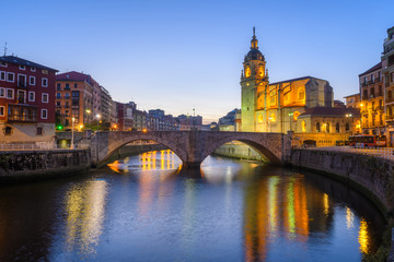 panoramic view of bilbao old town with san Anton church at background, Spain
