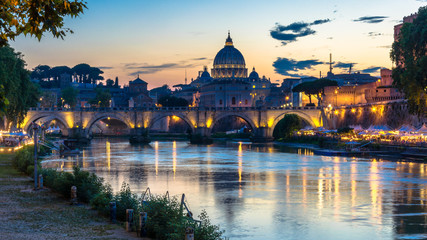 Saint peters basilica vatican italy with beautiful color ful clouds and water