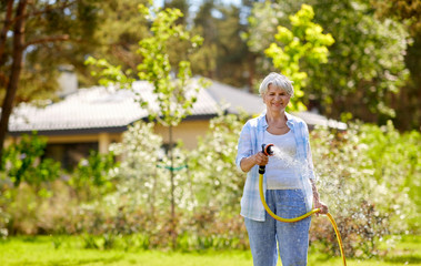 gardening and people concept - happy senior woman watering lawn by garden hose at summer