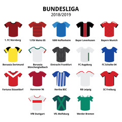 Bundesliga jerseys kit 2018 - 2019, German football league icons
