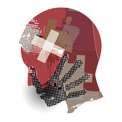 Man,Blood wound head, Victim of violence. Young man grunge silhouette with hand print on the face and Blood wound head. Vector available.