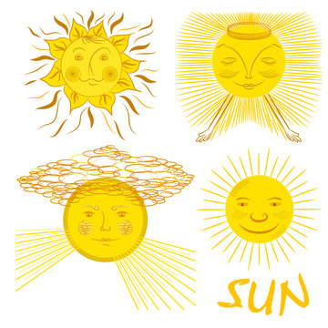 Set of four cartoon fairy suns. Fantastic cartoon sun with face.