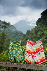 Swim shorts hanging to dry on clothes line in lush green forest of the Annapurna Himalaya, Nepal.