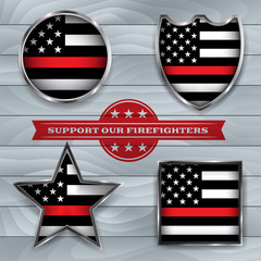 Firefighter Support Flag Badge Illustration