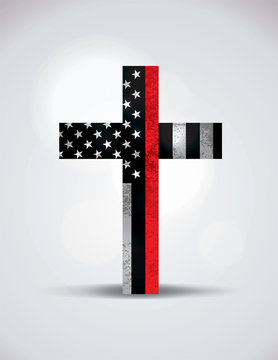 Christian Cross Firefighter Support Symbol