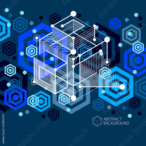 Mechanical Scheme Dark Blue Vector Engineering Drawing With 3D Cubes And Geometric Elements