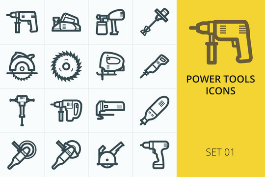 Power tools icons set - electric drill, planer, saw, grinder, hammer