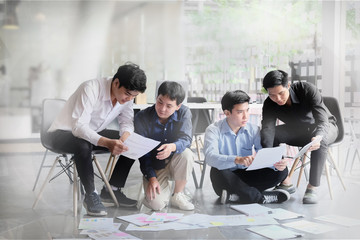 Business meeting and consult asian businessman working consulting on workplace.