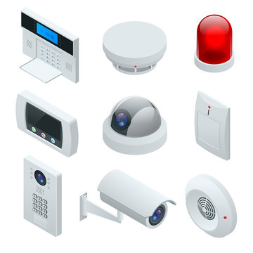 Isometric alarm system home. Home security. Security alarm keypad with person arming the system. Access, Alarm zones, security system panel