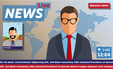 Anchorman on tv broadcast news. Anchorman on a globe background. Anchorman flat vector illustration. Anchorman with the release of breaking news