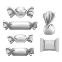 Realistic Detailed 3d White Blank Foil Pack Candies Template Mockup Set. Vector