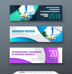 Horizontal web banner templtes with circles and shapes for a photo