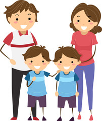 Stickman Family Kids Boys Twins Illustration