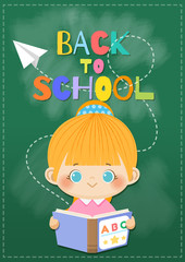 Happy smiling girl with book and flying paper plane on blackboard background.  Back to School concept,Vector illustration.