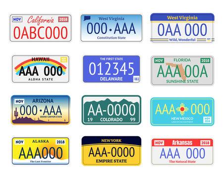 Vehicle Registration Plates Set. Vector