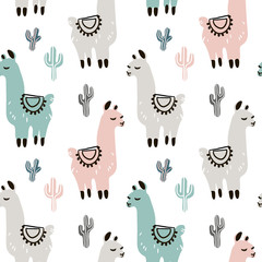 Childish seamless pattern with hand drawn llama in scandinavian style. Creative vector childish background for fabric, textile