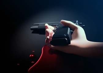 hand of young man and gun with blood on floor. 3d illustration