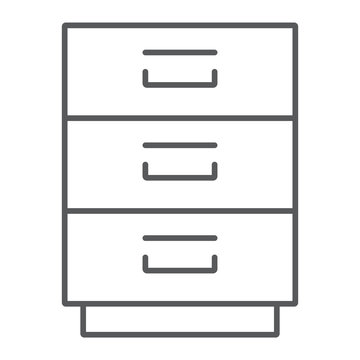Filling cabinet thin line icon, office and organize, file sign, vector graphics, a linear pattern on a white background, eps 10.