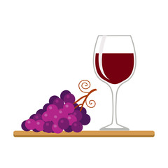 Wine glass and grapes, isolated on white background