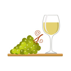 Wine glass and grapes, isolated on whitw background