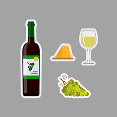 Stickers of bottle white, glass, grapes and cheese, isolated on gray background