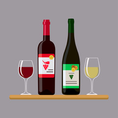Two bottles wine and two glass, isolated on gray background