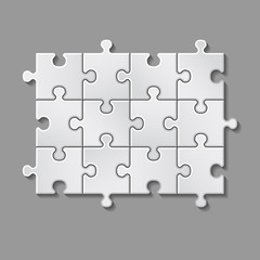 vector illustration of white puzzle made of little pieces