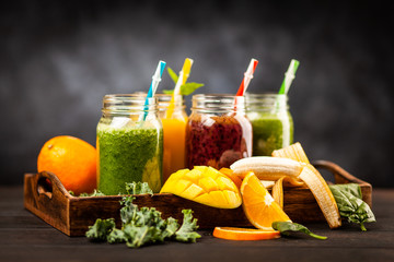 Assortment of smoothies
