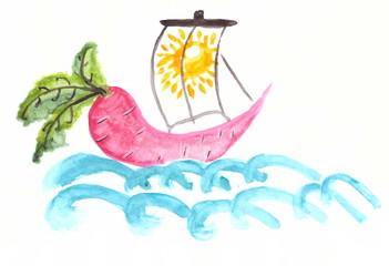 Drawing with watercolors: sailing ship of beet.